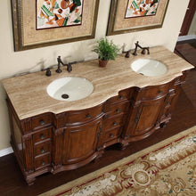 "Load image into Gallery viewer, Silkroad Exclusive 72"" Travertine Top Double Sink Bathroom Vanity - HYP-0722-T-UIC-72 - Vanity Connection"