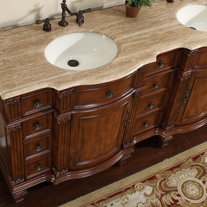 "Silkroad Exclusive 72"" Travertine Top Double Sink Bathroom Vanity - HYP-0722-T-UIC-72 - Vanity Connection"