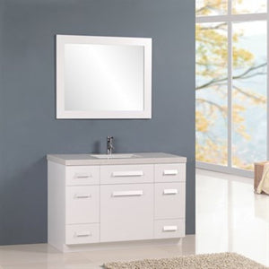 "Design Element Moscony 48"" Single Sink Vanity Set in White J48-DS-W - Vanity Connection"
