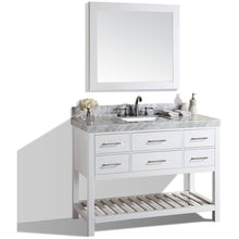 "Load image into Gallery viewer, Pacific Collection 48"" Laguna White Single Modern Bathroom Vanity with White Marble Top and Undermount Sink - Vanity Connection"