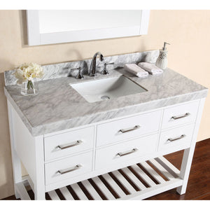 "Pacific Collection 48"" Laguna White Single Modern Bathroom Vanity with White Marble Top and Undermount Sink - Vanity Connection"