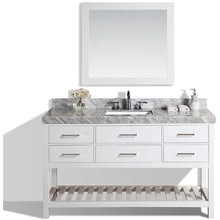 "Load image into Gallery viewer, Pacific Collection 60"" Laguna White Single Modern Bathroom Vanity with White Marble Top and Undermount Sink - Vanity Connection"