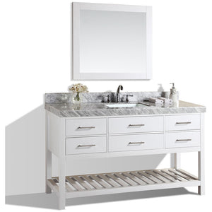 "Pacific Collection 60"" Laguna White Single Modern Bathroom Vanity with White Marble Top and Undermount Sink - Vanity Connection"