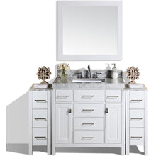 "Load image into Gallery viewer, Pacific Collection 64"" Malibu White Single Modern Bathroom Vanity with 2 Side Cabinets and White Marble Top with Undermount Sink - Vanity Connection"