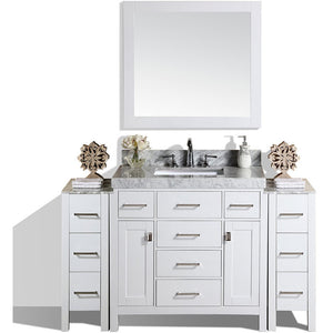 "Pacific Collection 64"" Malibu White Single Modern Bathroom Vanity with 2 Side Cabinets and White Marble Top with Undermount Sink - Vanity Connection"