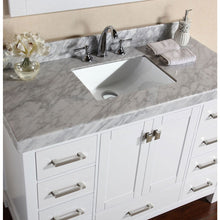 "Load image into Gallery viewer, Pacific Collection 84"" Malibu White Single Modern Bathroom Vanity with 2 Side Cabinets and White Marble Top with Undermount Sink - Vanity Connection"