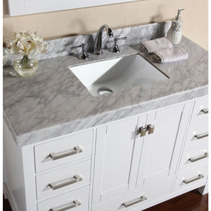"Pacific Collection 84"" Malibu White Single Modern Bathroom Vanity with 2 Side Cabinets and White Marble Top with Undermount Sink - Vanity Connection"