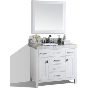 "Pacific Collection 40"" Malibu White Single Modern Bathroom Vanity with White Marble Top and Undermount Sink - Vanity Connection"