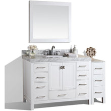 "Load image into Gallery viewer, Pacific Collection 60"" Malibu White Single Modern Bathroom Vanity with Side Cabinet and White Marble Top with Undermount Sink - Vanity Connection"