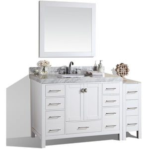"Pacific Collection 60"" Malibu White Single Modern Bathroom Vanity with Side Cabinet and White Marble Top with Undermount Sink - Vanity Connection"