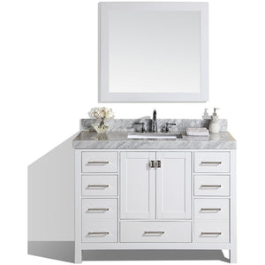 "Pacific Collection 48"" Malibu White Single Modern Bathroom Vanity with White Marble Top and Undermount Sink - Vanity Connection"