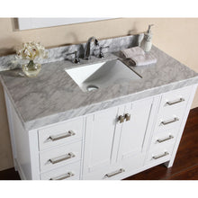 "Load image into Gallery viewer, Pacific Collection 48"" Malibu White Single Modern Bathroom Vanity with White Marble Top and Undermount Sink - Vanity Connection"