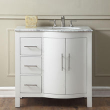 "Load image into Gallery viewer, Silkroad Exclusive 36"" Carrara White Marble Top Single Sink Bathroom Vanity - V0290WW36 - Vanity Connection"
