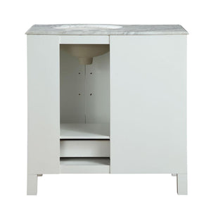 "Silkroad Exclusive 36"" Carrara White Marble Top Single Sink Bathroom Vanity - V0290WW36 - Vanity Connection"