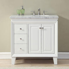 "Load image into Gallery viewer, Silkroad Exclusive 36"" Carrara White Marble Top Single Sink Bathroom Vanity - V0320WW36 - Vanity Connection"