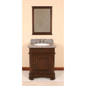 "Lanza Perkin 28"" Vanity with Backsplash and Mirror WF6500-28 - Vanity Connection"
