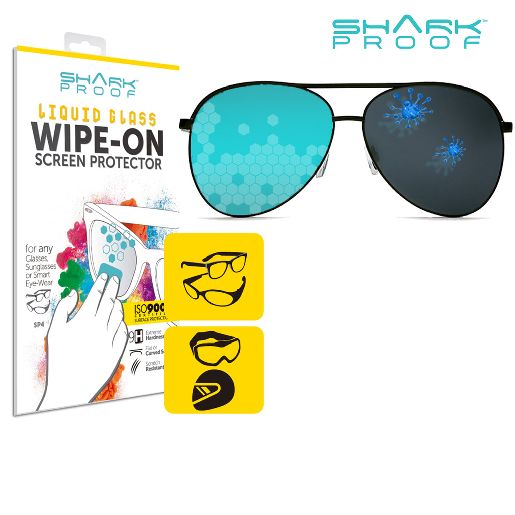Scratch Resistant, Liquid Repellent, Anti Bacterial Wipe-On Protection for Glasses, Sunglasses, Motorcycle Helmets - Shark Proof