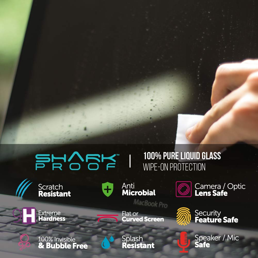 "Scratch Resistant, Liquid Repellent, Anti Bacterial for ALL Laptops, Macbooks, Large GPS / LCDs up to 24"" Screen Size - Shark Proof"