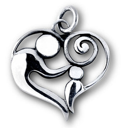 Sterling Silver Parent and Child Heart Pendant