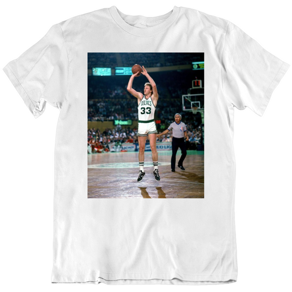 Retro Larry Bird Jump Shot Boston Basketball Fan T Shirt