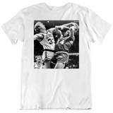 Retro Larry Bird Blocking Charles Barkley Boston Basketball Fan White T Shirt