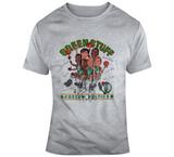 Retro Boston Basketball Team Green Stuff  Bird Parrish Ainge Caricature Distressed   T Shirt