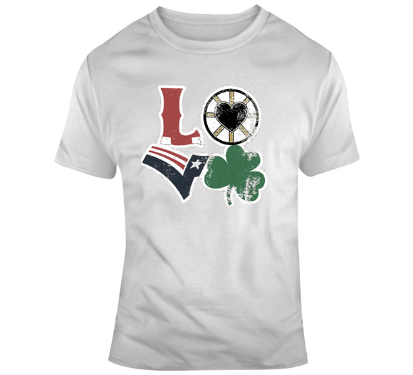 Boston Sports Teams Boston Love Hockey Basketball Football Baseball Fan T Shirt