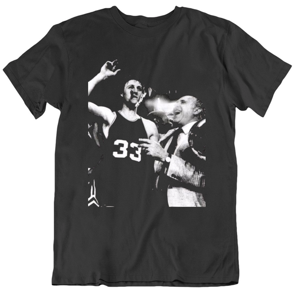 Retro Larry Bird and Red Boston Basketball Fan T Shirt