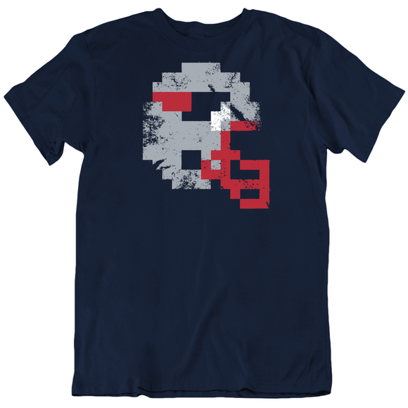 8 Bit Helmet New England Football Fan Distressed T Shirt