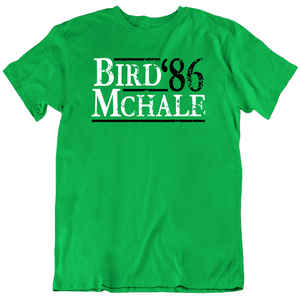 Boston 86 Champions Bird Mchale 86 Boston Basketball Fan Green T Shirt