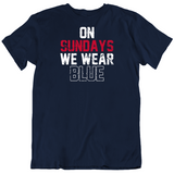 On Sundays We Wear Blue New England Football Fan Distressed T Shirt