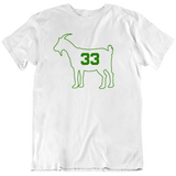 Larry Bird Goat 33 Outline Boston Basketball Fan White T Shirt