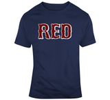 Boston Baseball Fan RED Distressed T Shirt