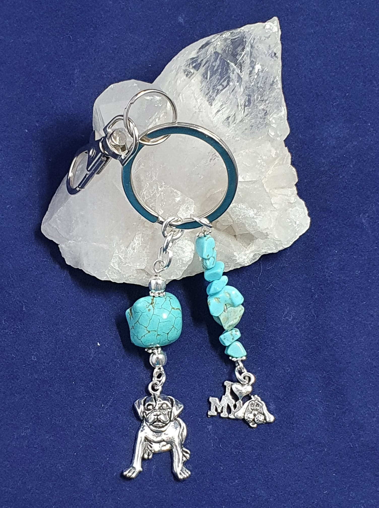 """I love my dog"" theme Key Ring or Bag charm with . Turquoise crystal."