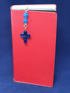 BOOKMARK, blue glass cross.  Handcrafted unique novelty gift