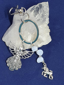 Angel and Unicorn. Blue Lace Agate.  Bag charm.