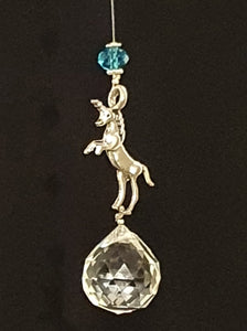 Silver Unicorn single drop suncatcher