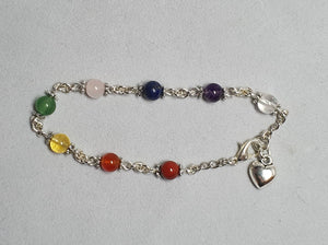Chakra bracelet, silver colour chain and charm