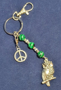 Owl key ring. Green Malachite crystal. Peace symbol.