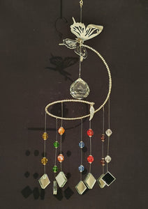 Butterfly theme spiral suncatcher. Rainbow/chakra colour glass crystals.