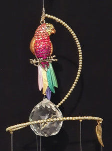 Parrot theme Rainbow / Chakra colour glass crystals. Gold beaded spiral suncatcher