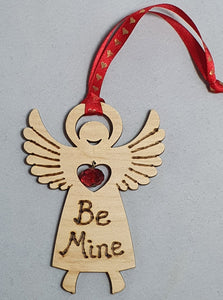 "'Rustic Charm' Angel with words ""Be Mine"""