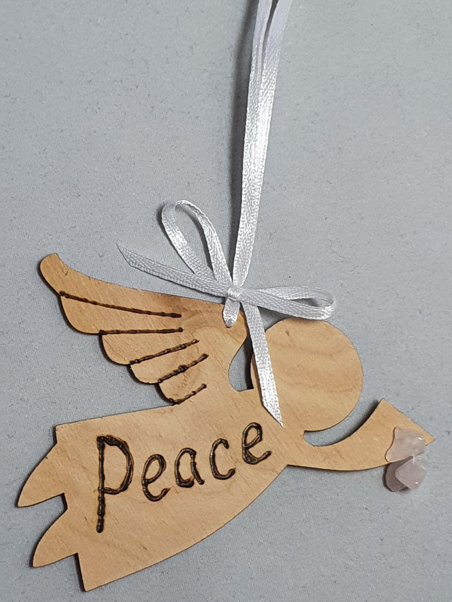 "Rustic Charm Flying Angel with word ""Peace"" Rose Quartz"