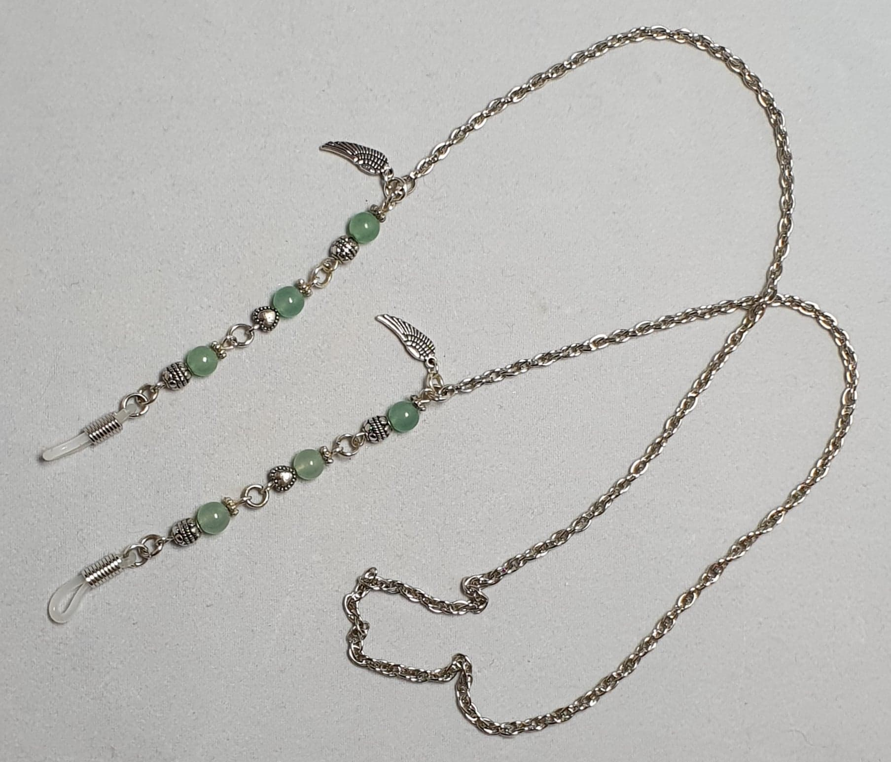 Glasses chain Angel wings and Green Aventurine semi-precious crystal