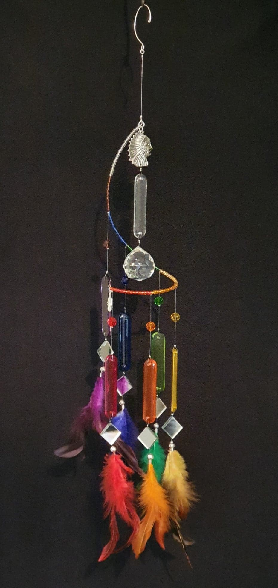 American Indian theme, Rainbow / chakra colour suncatcher with feathers