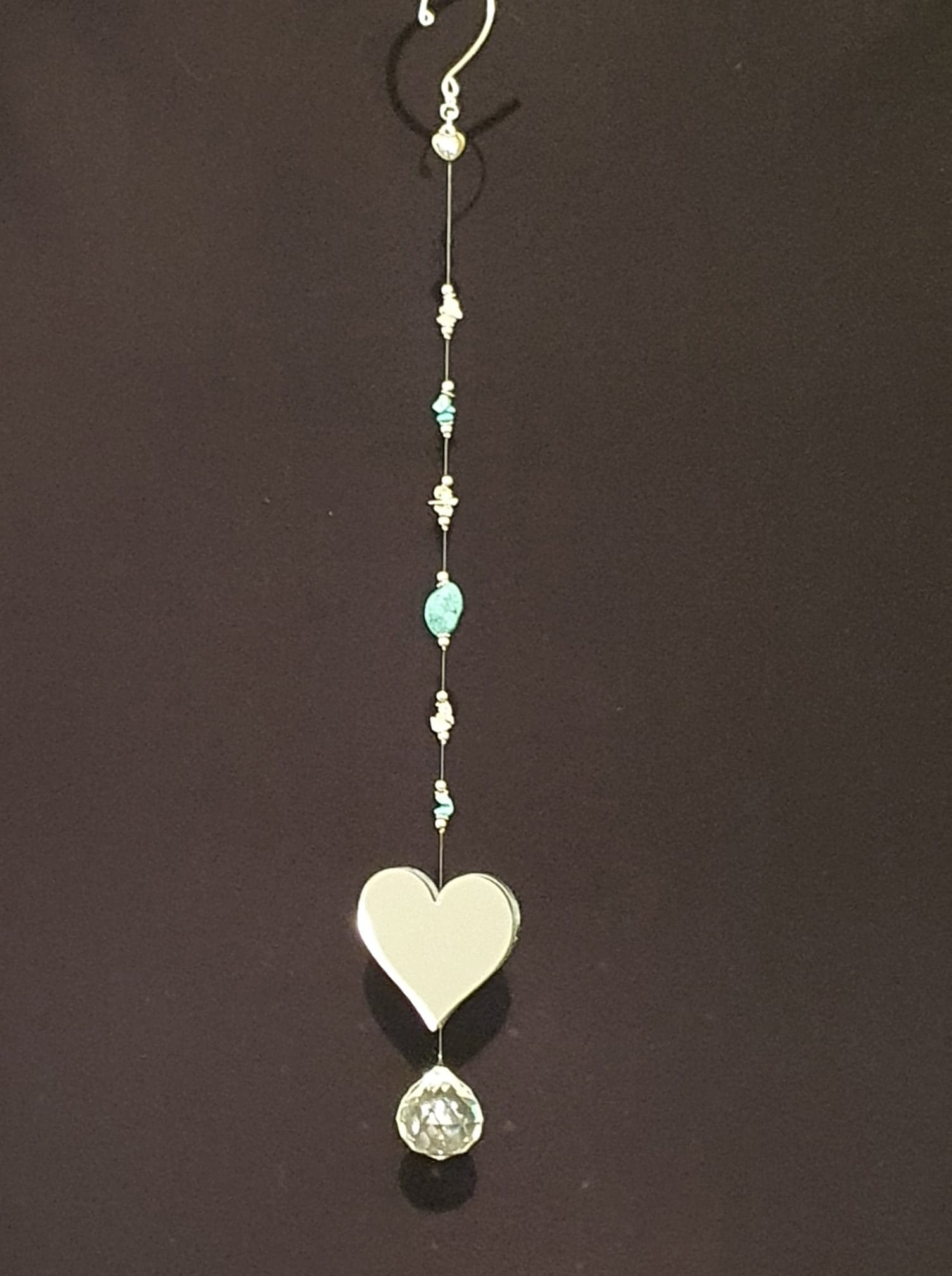 Heart Mirror with Semi-precious Turquoise and Clear Quartz crystals single drop suncatcher