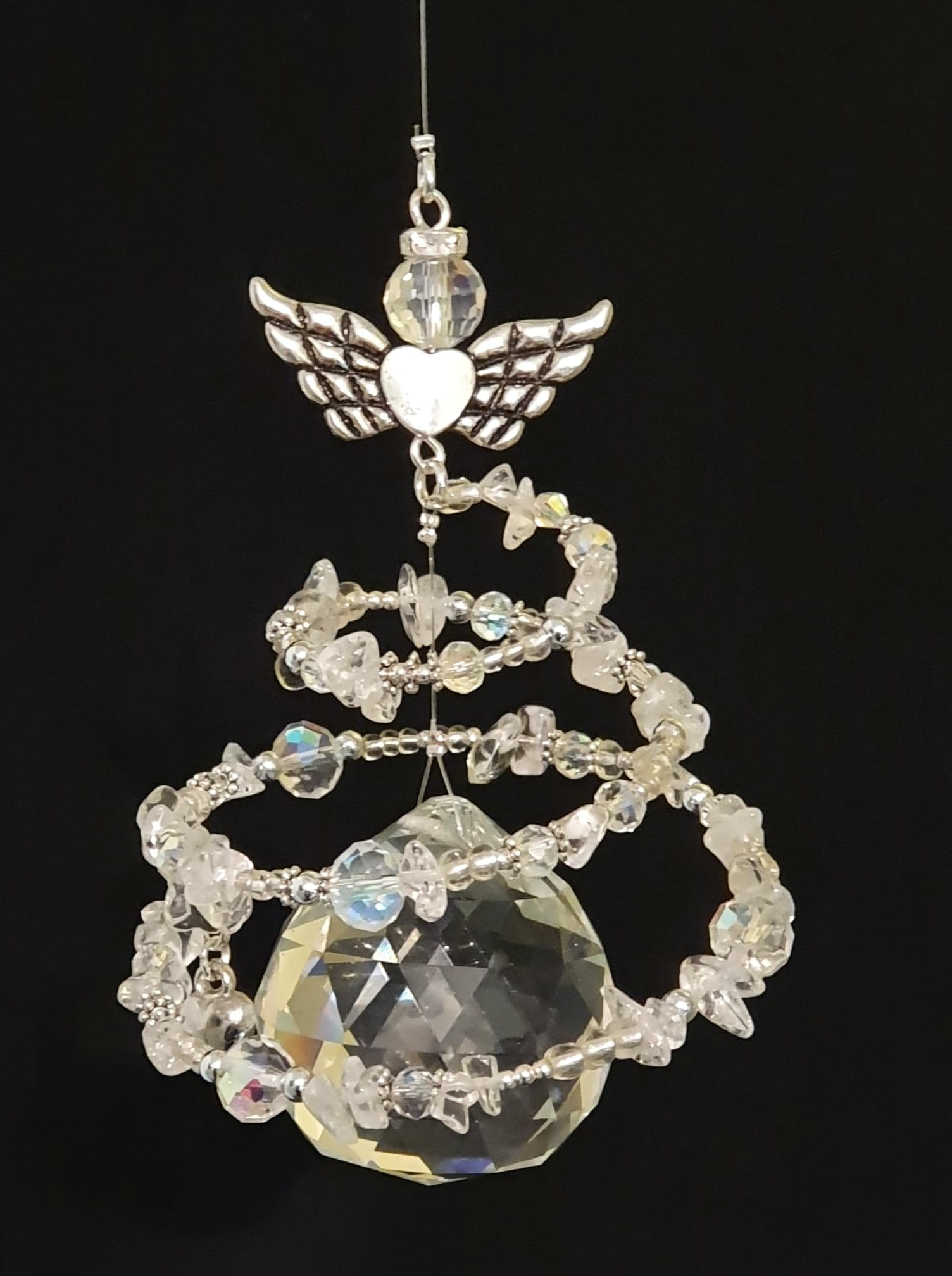 Clear Quartz Spiral Angel, single drop suncatcher with Heart charm