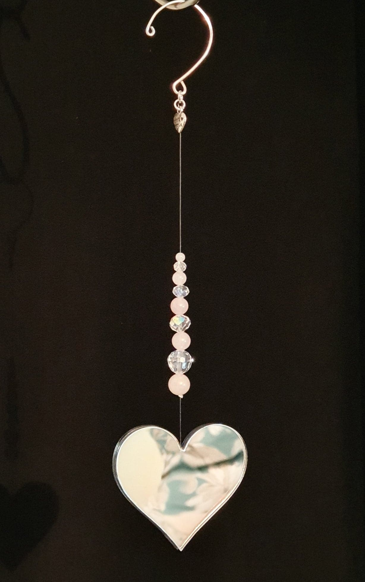 Mirror heart with Rose quartz and AB faceted crystals window decoration