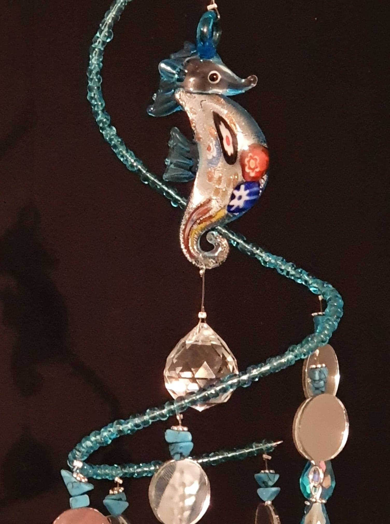 Seahorse spiral suncatcher with semi-precious Turquoise crystals