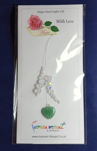 Small cluster window hanger. Green Aventurine Heart with AB glass crystals window decoration